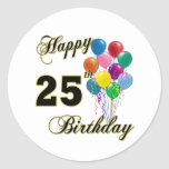 Happy 25th Birthday Gifts with Balloons Classic Round Sticker