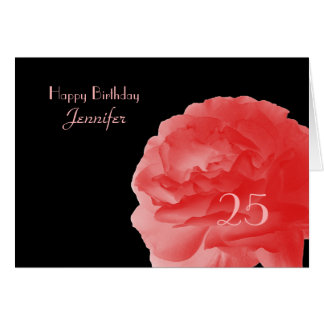 Happy 25th Birthday Greeting Card, Coral Rose Card