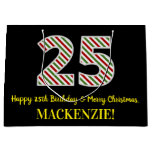 [ Thumbnail: Happy 25th Birthday & Merry Christmas, Custom Name Gift Bag ]