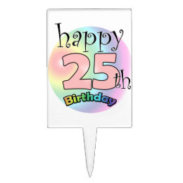 Happy 25th Birthday (pink) Cake Topper