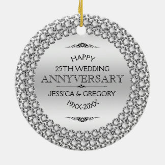 Happy 25th Wedding Anniversary Diamonds & Silver Ceramic Ornament