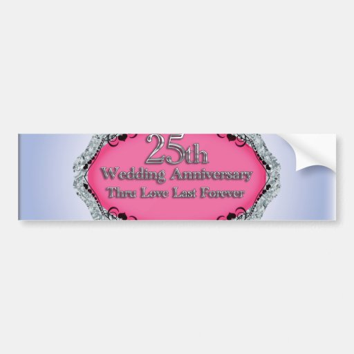 Happy 25th Wedding Anniversary Greeting Cards Bumper Stickers