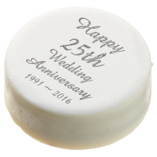 Happy 25th Wedding Anniversary Silver Typography Chocolate Covered Oreo