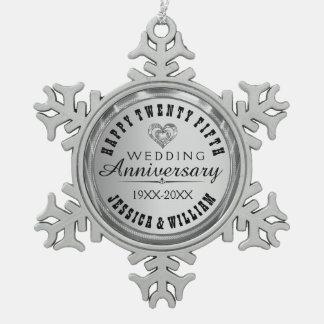 Happy 25Th Wedding Anniversary Snowflake Pewter Christmas Ornament