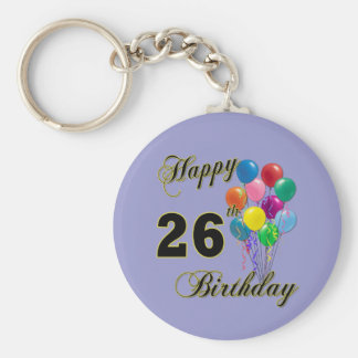 Happy 26th Birthday Gifts with Balloons Keychain