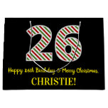 [ Thumbnail: Happy 26th Birthday & Merry Christmas, Custom Name Gift Bag ]