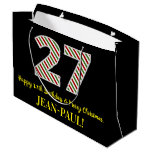 [ Thumbnail: Happy 27th Birthday & Merry Christmas, Custom Name Gift Bag ]