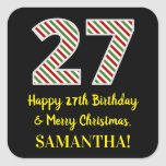 [ Thumbnail: Happy 27th Birthday & Merry Christmas, Custom Name Sticker ]