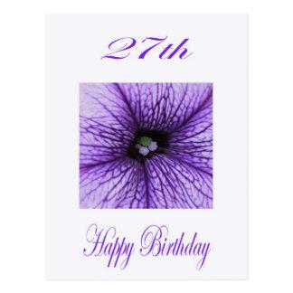 Happy 27th Birthday purple Blossom Post Card