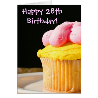 Happy 28th Birthday Cupcake greeting card