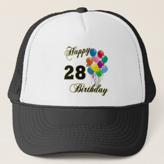 Happy 28th Birthday Gifts with Balloons Trucker Hat