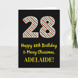 [ Thumbnail: Happy 28th Birthday & Merry Christmas, Custom Name Card ]