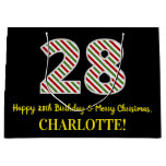 [ Thumbnail: Happy 28th Birthday & Merry Christmas, Custom Name Gift Bag ]