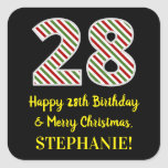 [ Thumbnail: Happy 28th Birthday & Merry Christmas, Custom Name Sticker ]