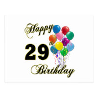 Happy 29th birthday cards greeting photo cards zazzle happy 29th birthday gifts with balloons bookmarktalkfo Images