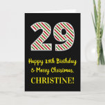 [ Thumbnail: Happy 29th Birthday & Merry Christmas, Custom Name Card ]