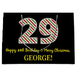 [ Thumbnail: Happy 29th Birthday & Merry Christmas, Custom Name Gift Bag ]