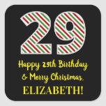 [ Thumbnail: Happy 29th Birthday & Merry Christmas, Custom Name Sticker ]