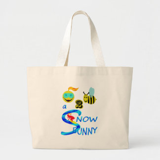 happy 2 bee a snow bunny tote bags