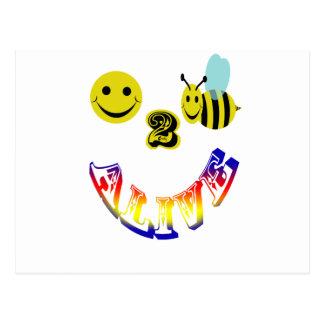 happy 2 bee alive postcard