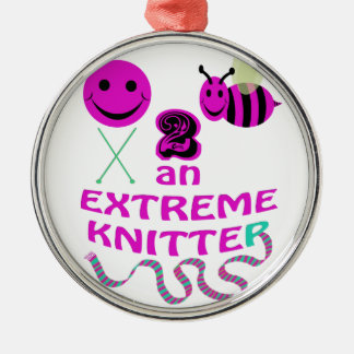 happy 2 bee an extreme knitter metal ornament