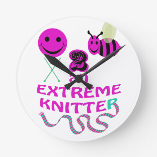 happy 2 bee an extreme knitter round clock