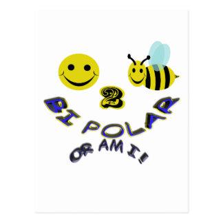 happy 2 bee bi polar , or am i postcard