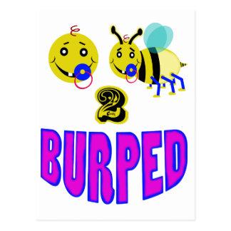 Happy 2 bee burped postcard