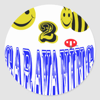 happy 2 bee caravaning classic round sticker