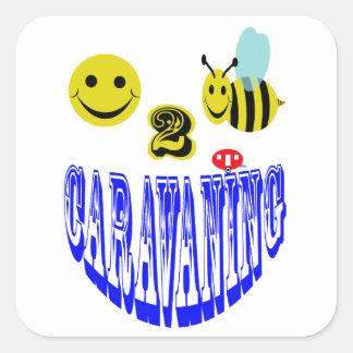 happy 2 bee caravaning square stickers
