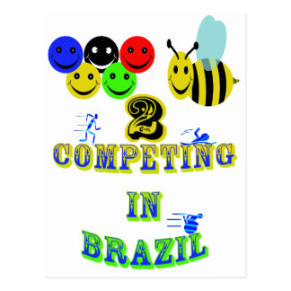 happy 2 bee competing in brazil cotestants postcard