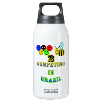 happy 2 bee competing in brazil insulated water bottle