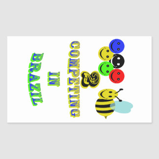 happy 2 bee competing in brazil rectangular sticker