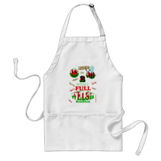 happy 2 bee eating a full welsh adult apron