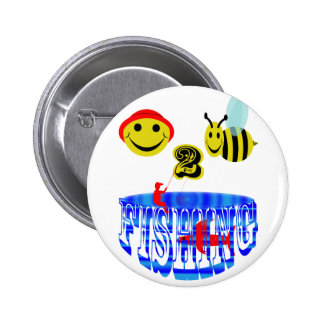 happy 2 bee fishing . pinback buttons