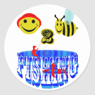 happy 2 bee fishing . classic round sticker