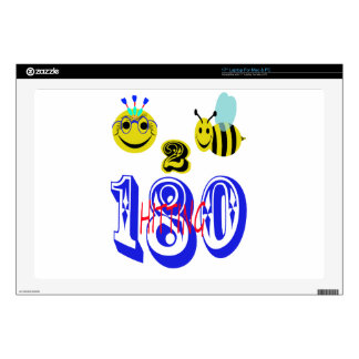 """happy 2 bee hitting 180 decals for 17"""" laptops"""