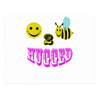 happy 2 bee hugged. postcard