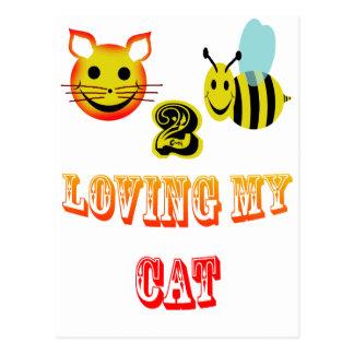 happy 2 bee loving my cat postcard