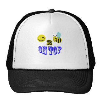 happy 2 bee on top. trucker hat
