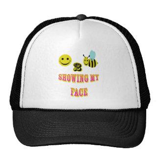 happy 2 bee showing my face trucker hat