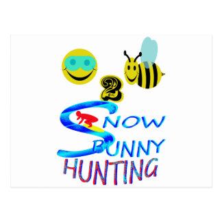 happy 2 bee snow bunny hunting postcard