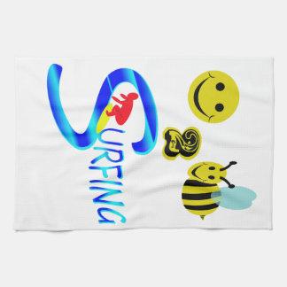 happy 2 bee surfing kitchen towels