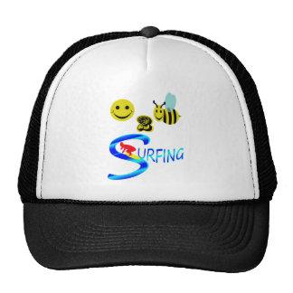 happy 2 bee surfing trucker hat