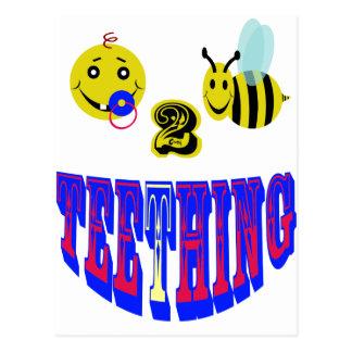happy 2 bee teething postcard