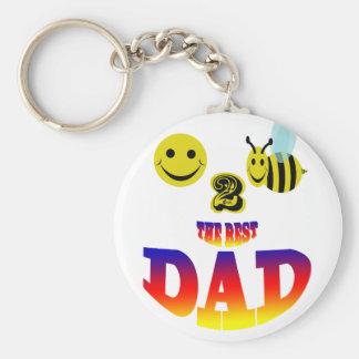 happy 2 bee the best dad basic round button keychain