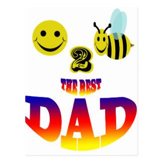 happy 2 bee the best dad postcard