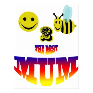 happy,2 bee the best mum postcard