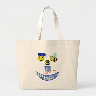 happy 2 bee the braykneeest large tote bag