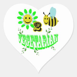happy 2 bee vegetarian heart sticker